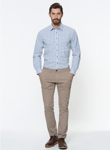 George Hogg Kareli Uzun Kollu Gömlek Mavi